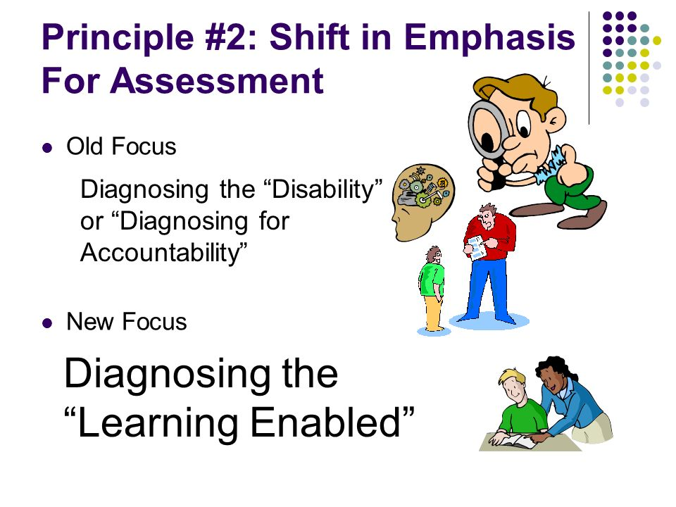 Principle #2: Shift in Emphasis For Assessment Old Focus New Focus Diagnosing the Disability or Diagnosing for Accountability Diagnosing the Learning