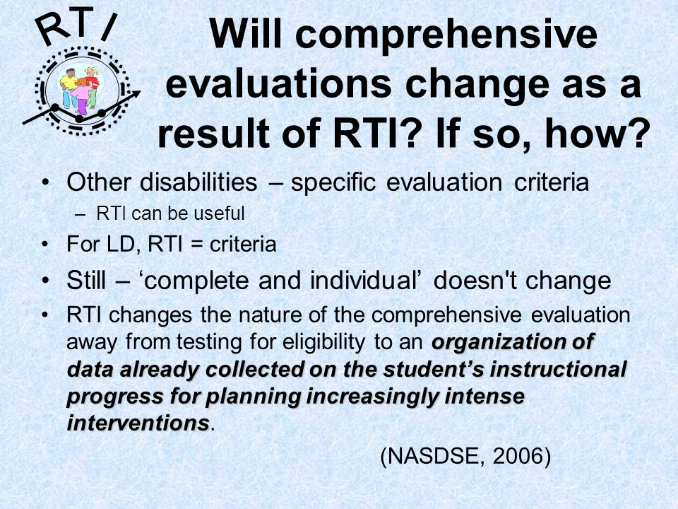 R T I Will comprehensive evaluations change as a result of RTI.