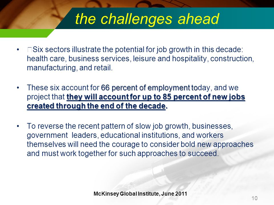 the challenges ahead ƒSix sectors illustrate the potential for job growth in this decade: health care, business services, leisure and hospitality, construction, manufacturing, and retail.