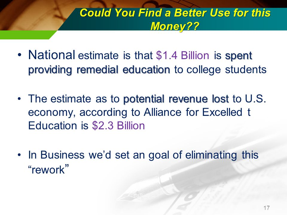 Could You Find a Better Use for this Money?? spent providing remedial educationNational estimate is that $1.4 Billion is spent providing remedial educ