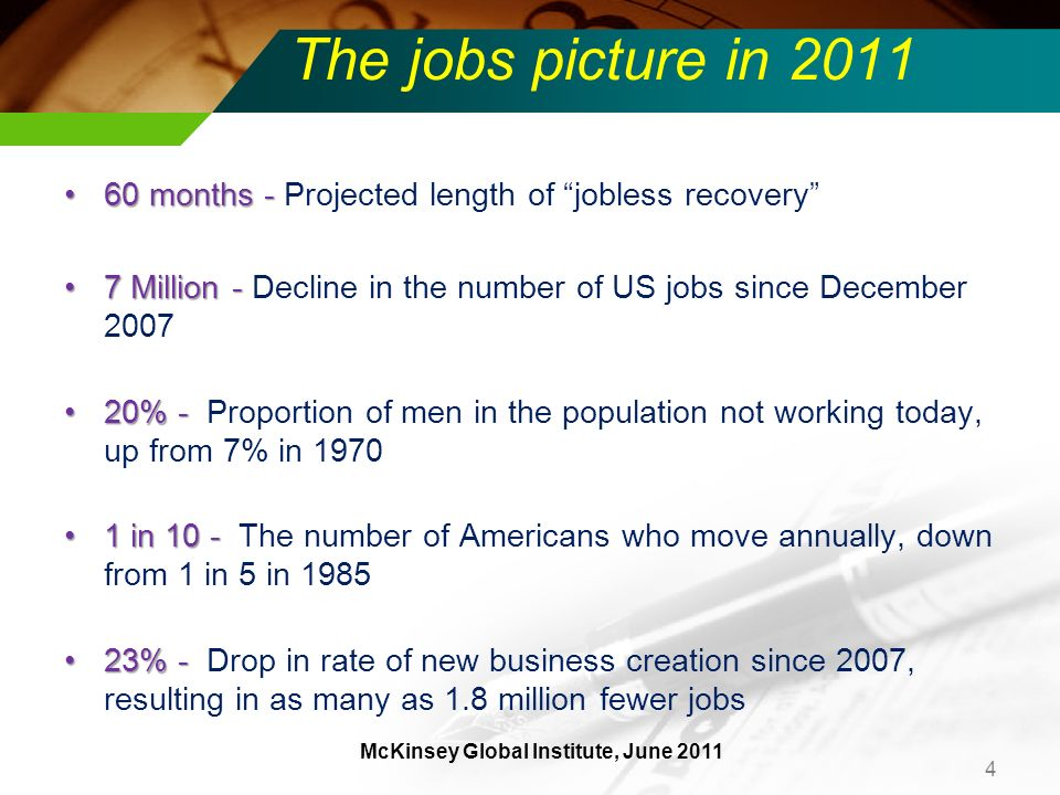 The jobs picture in 2011 60 months -60 months - Projected length of jobless recovery 7 Million -7 Million - Decline in the number of US jobs since December 2007 20% -20% - Proportion of men in the population not working today, up from 7% in 1970 1 in 10 -1 in 10 - The number of Americans who move annually, down from 1 in 5 in 1985 23% -23% - Drop in rate of new business creation since 2007, resulting in as many as 1.8 million fewer jobs 4 McKinsey Global Institute, June 2011