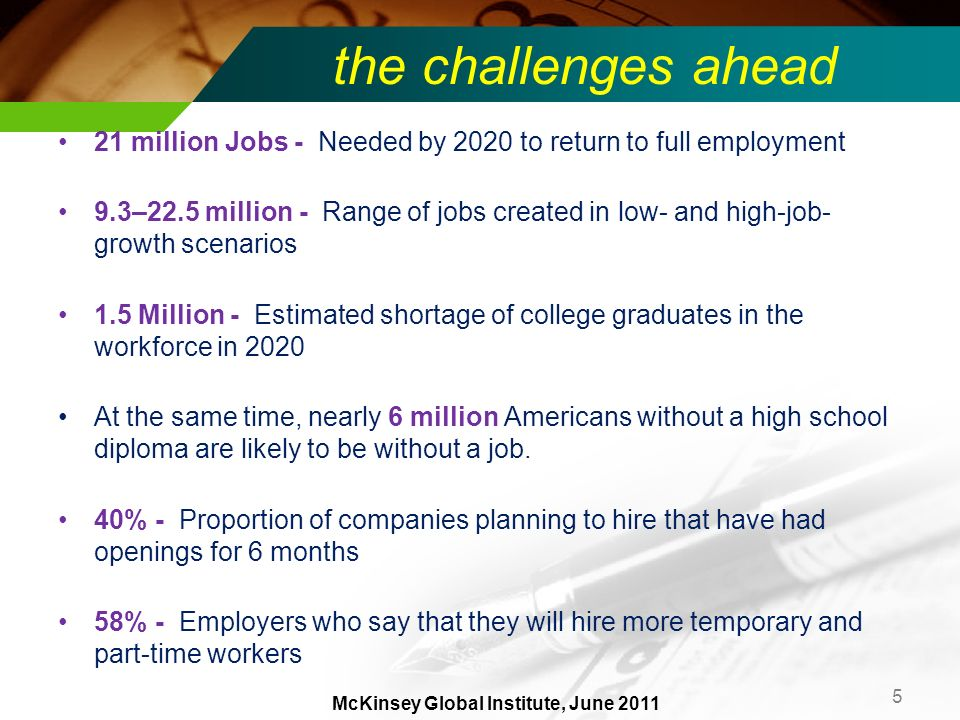 the challenges ahead 21 million Jobs - Needed by 2020 to return to full employment 9.3–22.5 million - Range of jobs created in low- and high-job- grow