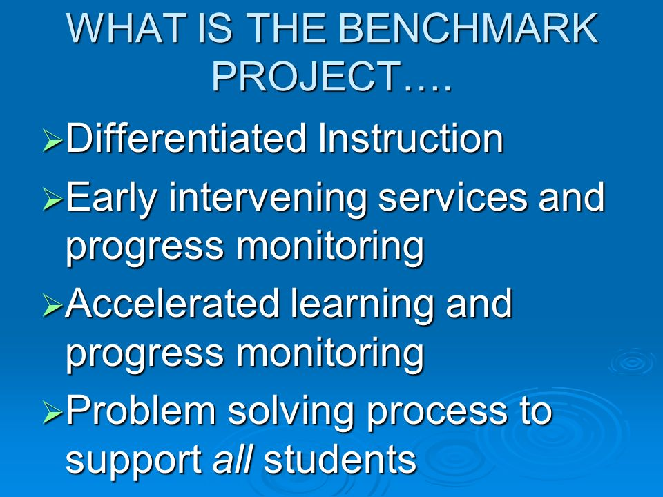 WHAT IS THE BENCHMARK PROJECT…. Differentiated Instruction Differentiated Instruction Early intervening services and progress monitoring Early interve