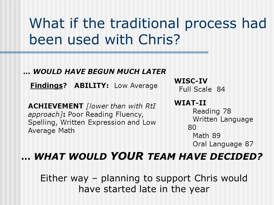 The plan for Chris … Chris Successful Response to the Intervention Process RATE: Progress demonstrated in 4 out of 5 areas assessed.