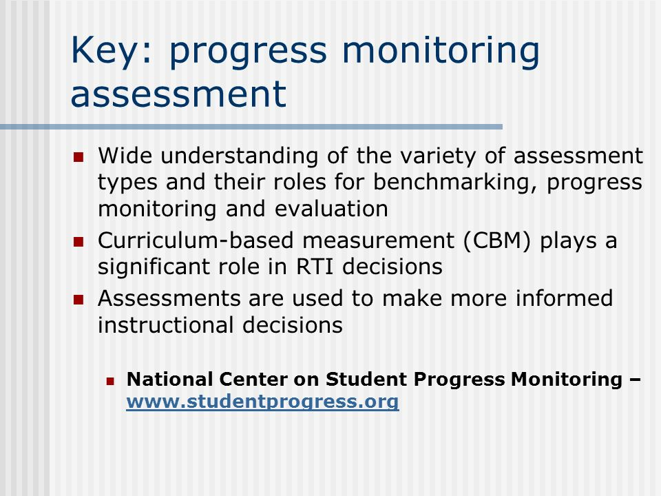 Key: a professional learning community Shared purpose, collaboration, evidence- based decision-making The problem-solving approach is used at school and district as well as individual and classroom levels Job-embedded learning Awareness of varied levels of acceptance of the changes –tailored supports (CBAM)