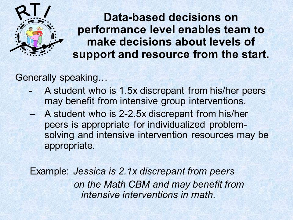 R T I Generally speaking… -A student who is 1.5x discrepant from his/her peers may benefit from intensive group interventions. –A student who is 2-2.5