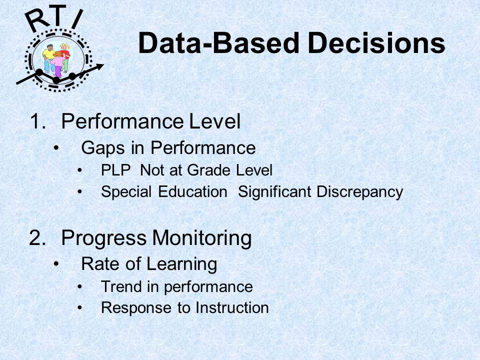 R T I Data-Based Decisions 1.Performance Level Gaps in Performance PLP Not at Grade Level Special Education Significant Discrepancy 2.Progress Monitoring Rate of Learning Trend in performance Response to Instruction