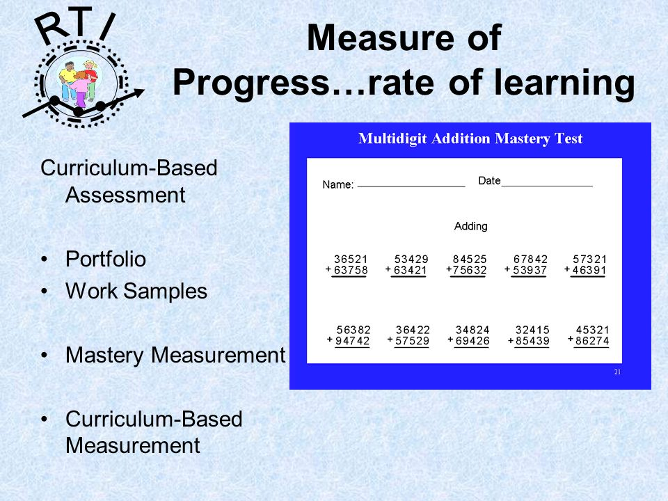 R T I Measure of Progress…rate of learning Curriculum-Based Assessment Portfolio Work Samples Mastery Measurement Curriculum-Based Measurement