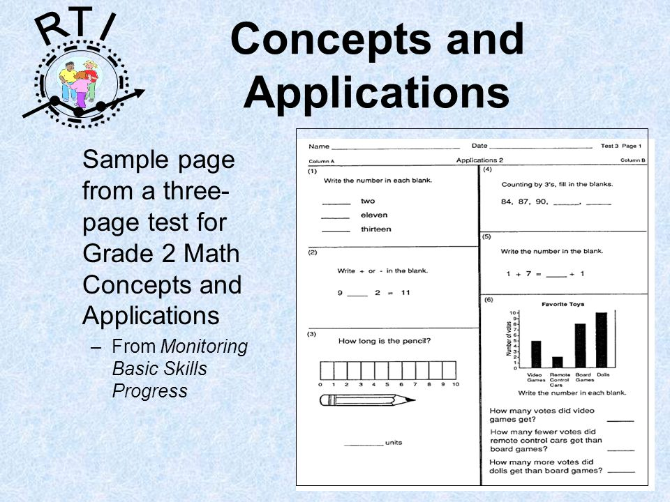 R T I Concepts and Applications Sample page from a three- page test for Grade 2 Math Concepts and Applications –From Monitoring Basic Skills Progress