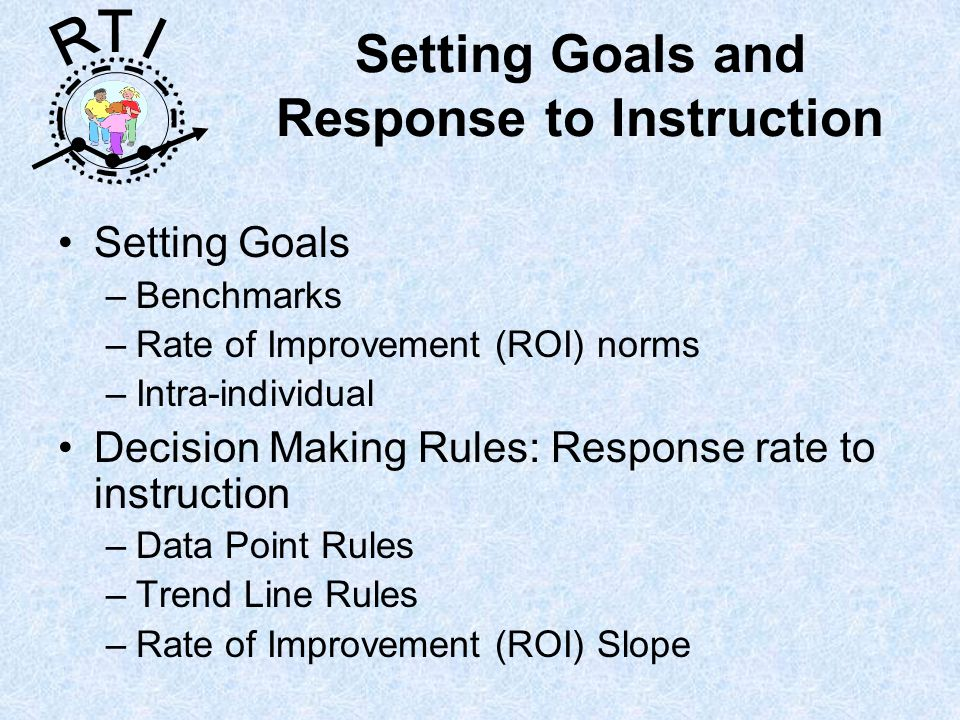 R T I Setting Goals and Response to Instruction Setting Goals –Benchmarks –Rate of Improvement (ROI) norms –Intra-individual Decision Making Rules: Response rate to instruction –Data Point Rules –Trend Line Rules –Rate of Improvement (ROI) Slope