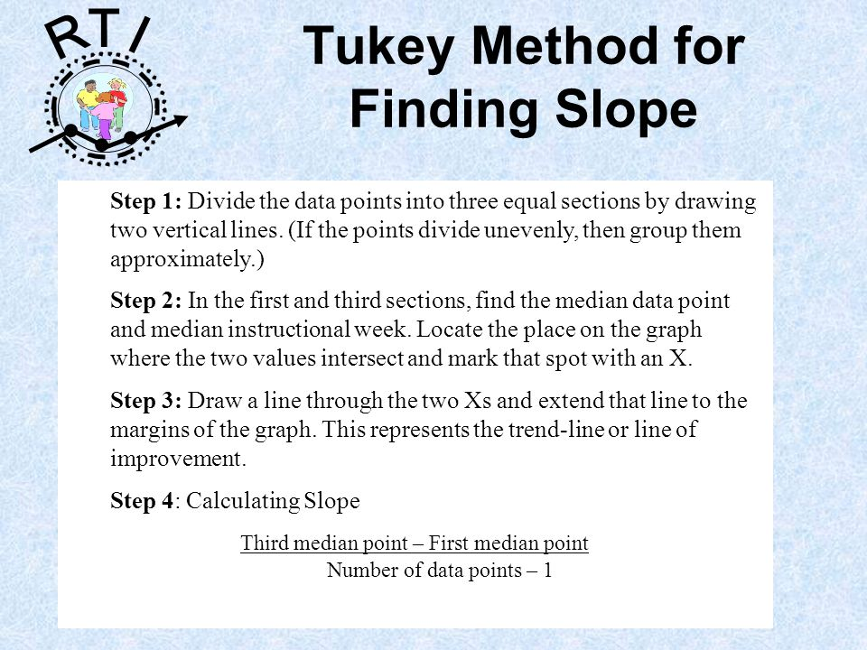 R T I Tukey Method for Finding Slope Step 1: Divide the data points into three equal sections by drawing two vertical lines.