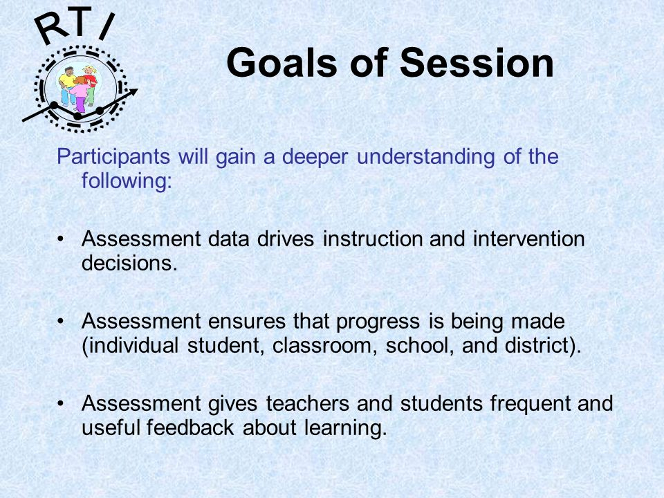 R T I Goals of Session Participants will gain a deeper understanding of the following: Assessment data drives instruction and intervention decisions.