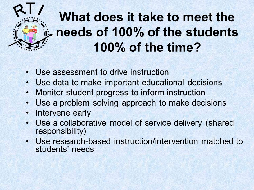 R T I Response To Intervention is … the practice of providing high-quality instruction and interventions matched to student need, monitoring progress frequently to make decisions about instruction so that we meet the needs of 100% of the students 100% of the time.
