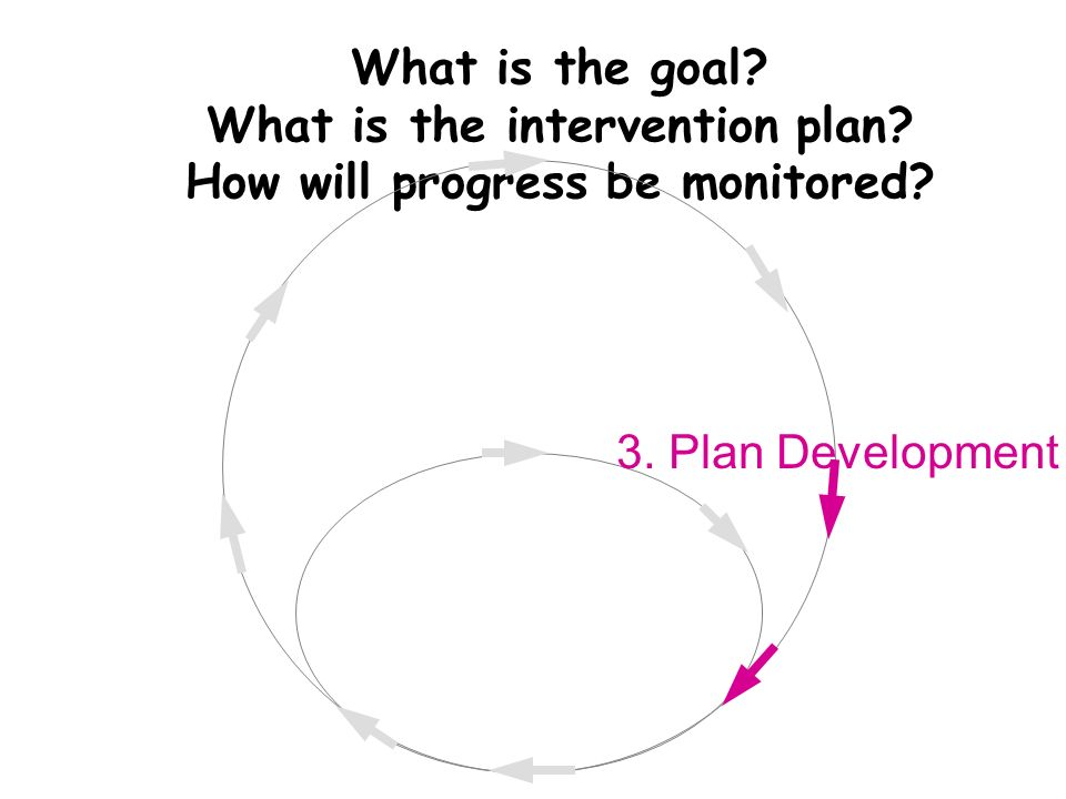 What is the goal. What is the intervention plan. How will progress be monitored.
