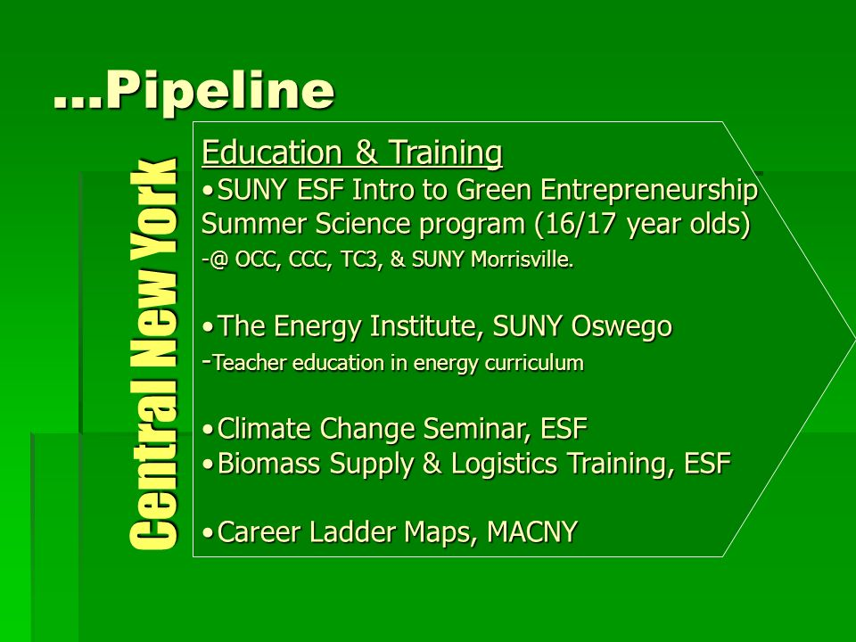 …Pipeline Education & Training SUNY ESF Intro to Green EntrepreneurshipSUNY ESF Intro to Green Entrepreneurship Summer Science program (16/17 year olds) -@ OCC, CCC, TC3, & SUNY Morrisville.