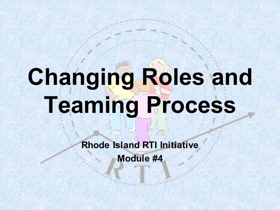 R T I 22 Team Members & Responsibilities (example) ChairpersonFacilitatorTaskmasterRecorderCase Mgr Schedules meetingPurpose, intros, ground rules.