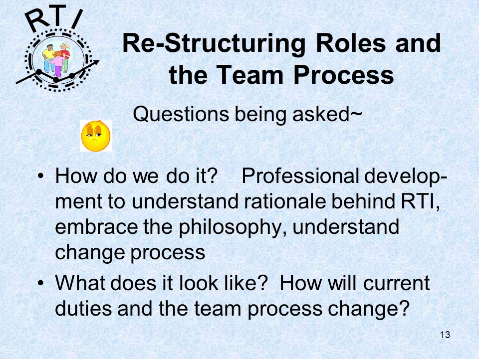 R T I 13 Re-Structuring Roles and the Team Process Questions being asked~ How do we do it.