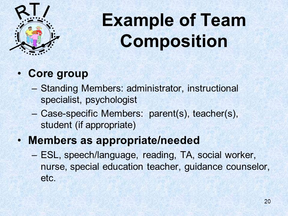 R T I 20 Example of Team Composition Core group –Standing Members: administrator, instructional specialist, psychologist –Case-specific Members: parent(s), teacher(s), student (if appropriate) Members as appropriate/needed –ESL, speech/language, reading, TA, social worker, nurse, special education teacher, guidance counselor, etc.