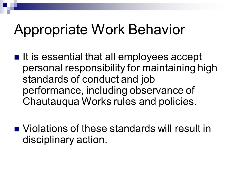 Appropriate Work Behavior It is essential that all employees accept personal responsibility for maintaining high standards of conduct and job performa