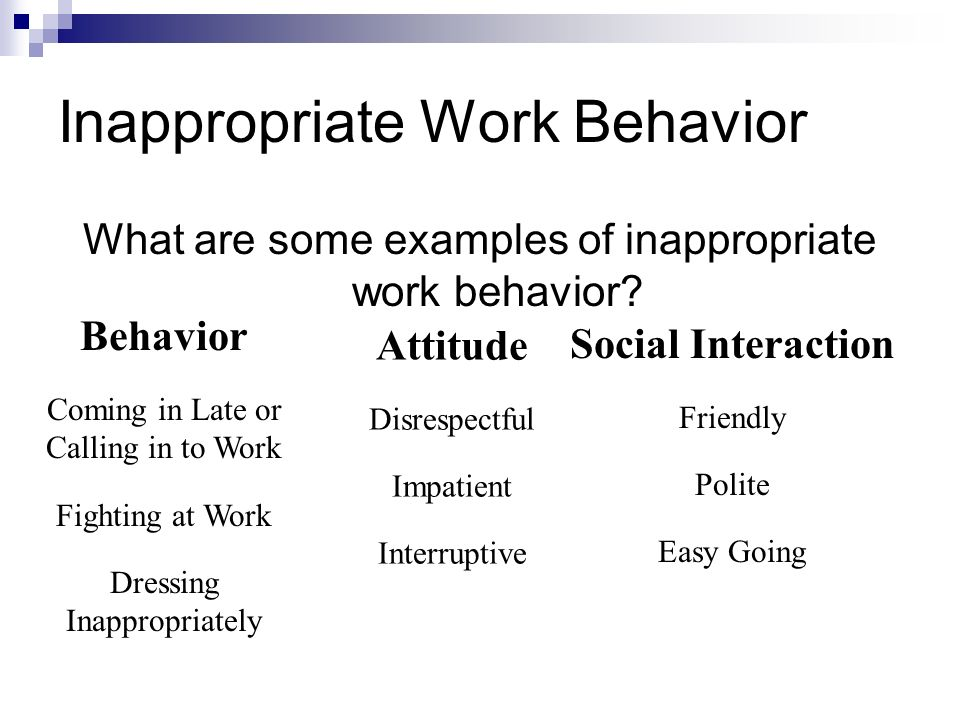Inappropriate Work Behavior What are some examples of inappropriate work behavior? Behavior Coming in Late or Calling in to Work Fighting at Work Dres