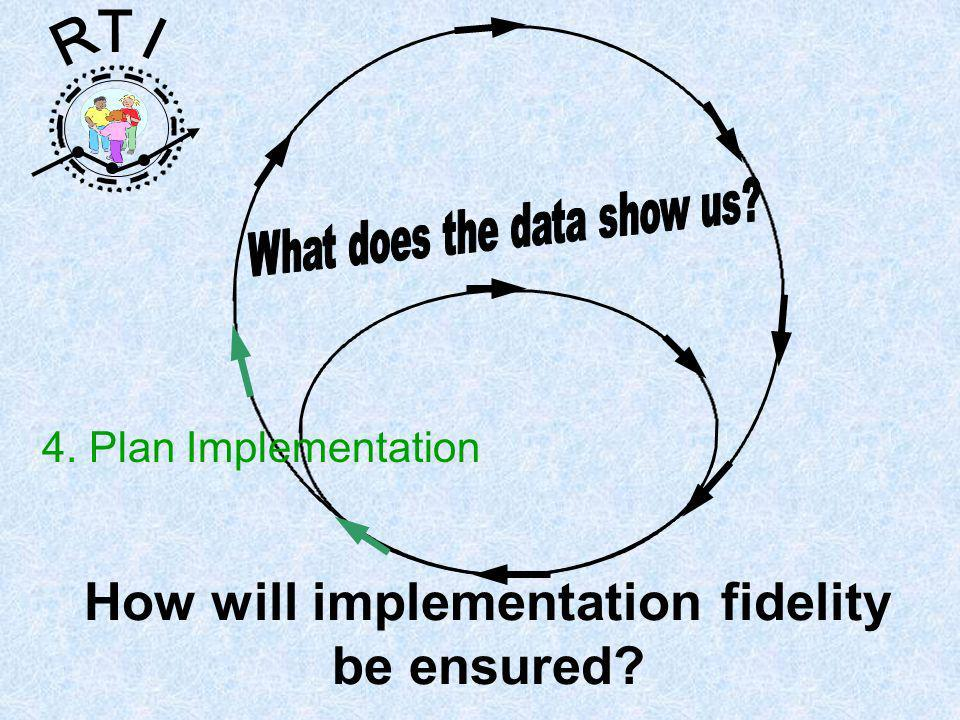 R T I 4. Plan Implementation How will implementation fidelity be ensured
