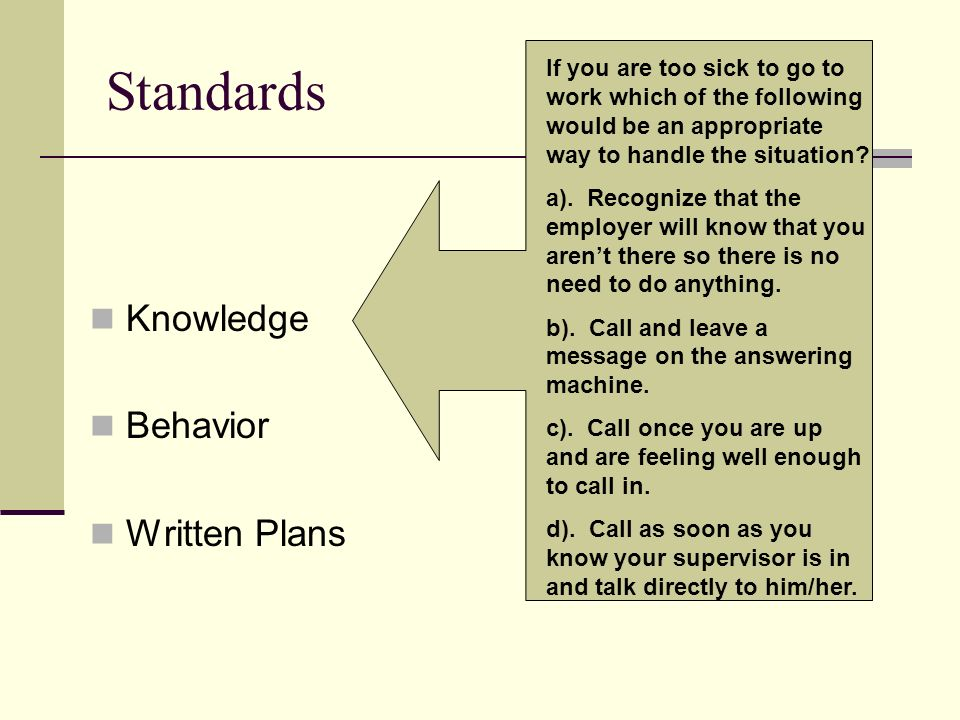 Standards Knowledge Behavior Written Plans If you are too sick to go to work which of the following would be an appropriate way to handle the situatio