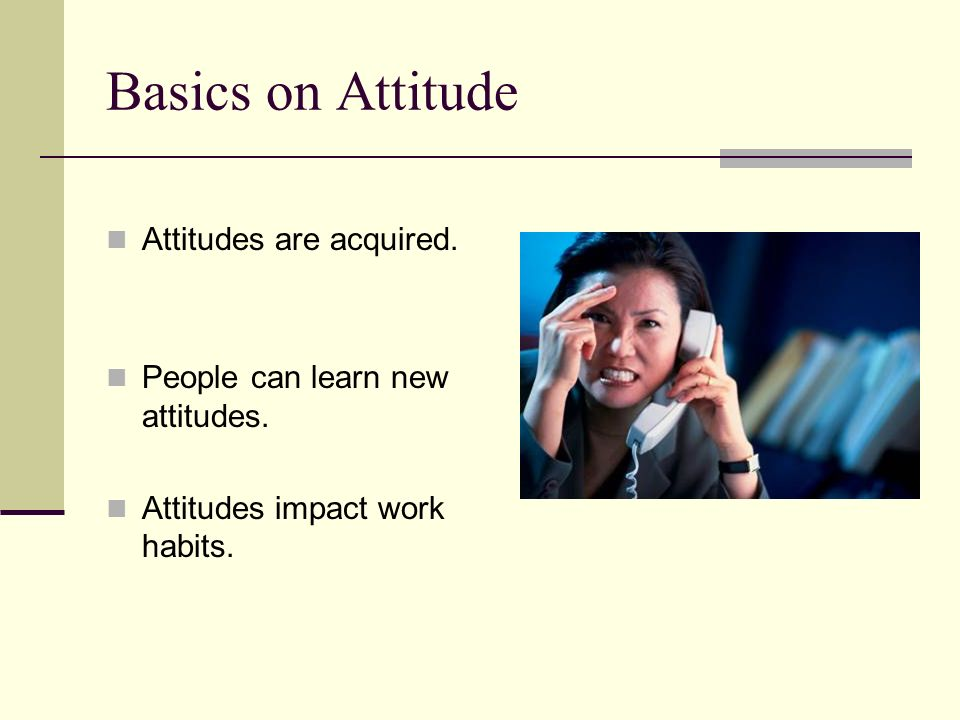 Basics on Attitude Attitudes are acquired. People can learn new attitudes. Attitudes impact work habits.