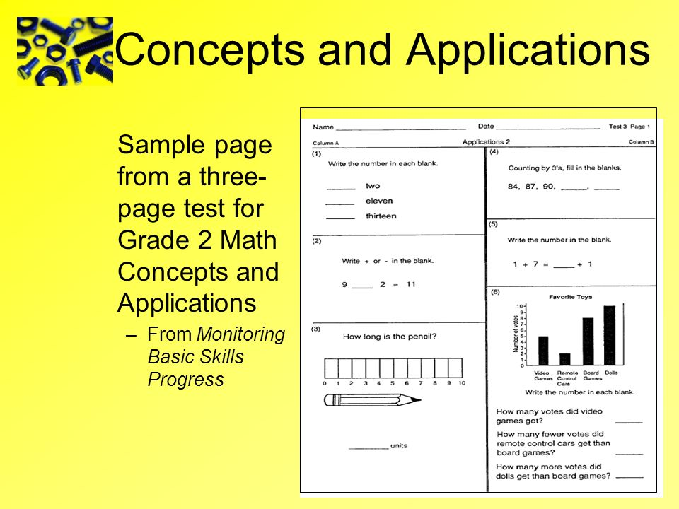 Concepts and Applications Sample page from a three- page test for Grade 2 Math Concepts and Applications –From Monitoring Basic Skills Progress
