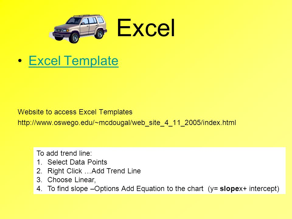 Excel Excel Template Website to access Excel Templates http://www.oswego.edu/~mcdougal/web_site_4_11_2005/index.html To add trend line: 1.Select Data