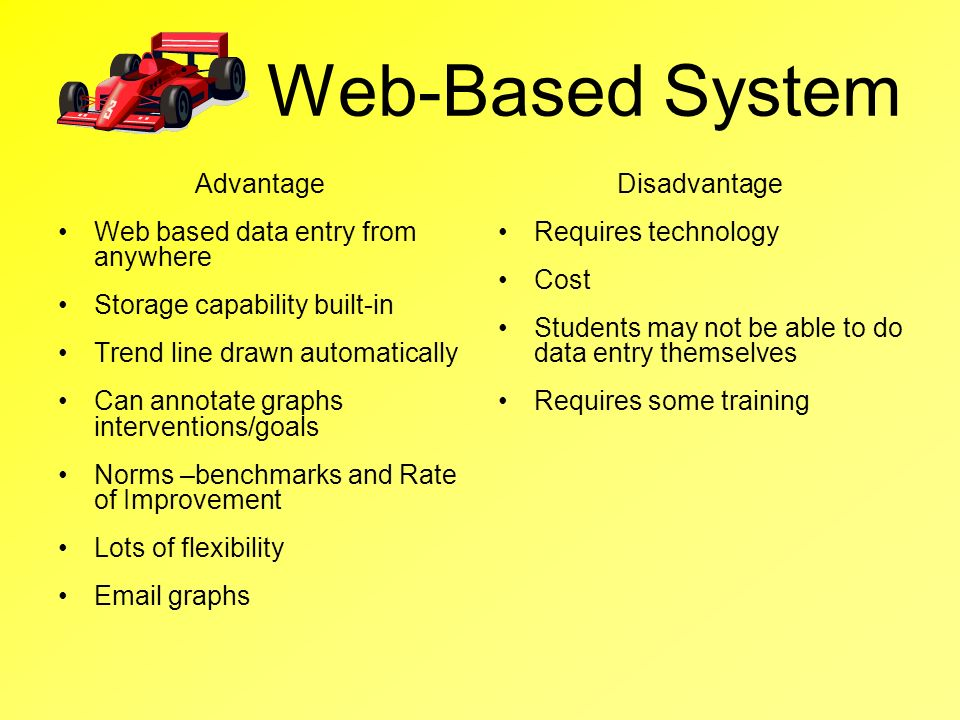 Web-Based System Advantage Web based data entry from anywhere Storage capability built-in Trend line drawn automatically Can annotate graphs intervent