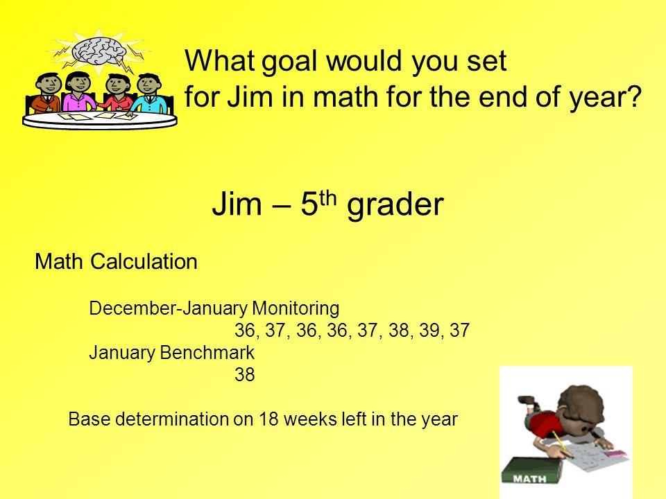 Jim – 5 th grader Math Calculation December-January Monitoring 36, 37, 36, 36, 37, 38, 39, 37 January Benchmark 38 Base determination on 18 weeks left