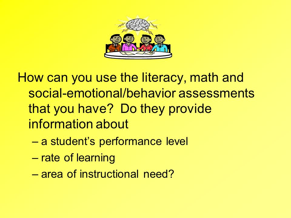 How can you use the literacy, math and social-emotional/behavior assessments that you have? Do they provide information about –a students performance