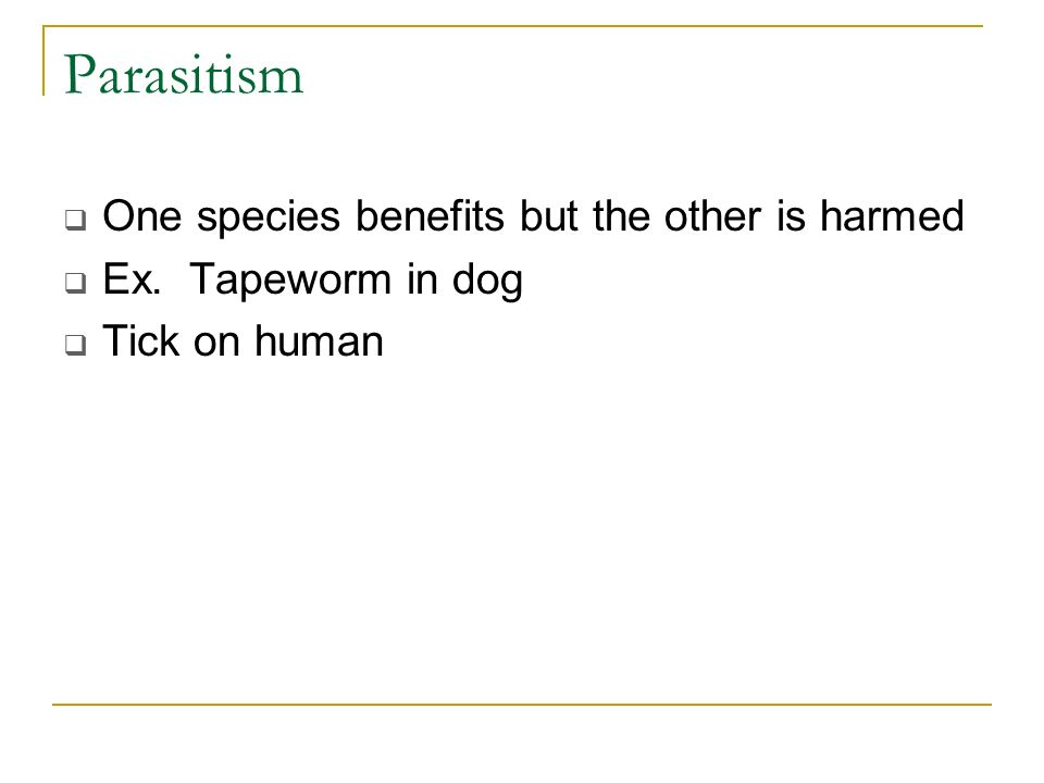 Parasitism One species benefits but the other is harmed Ex. Tapeworm in dog Tick on human