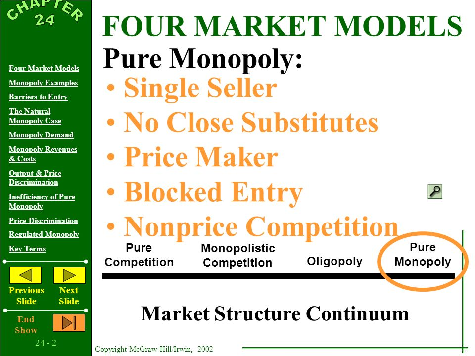Copyright McGraw-Hill/Irwin, 2002 Four Market Models Monopoly Examples Barriers to Entry The Natural Monopoly Case Monopoly Demand Monopoly Revenues & Costs Output & Price Discrimination Inefficiency of Pure Monopoly Price Discrimination Regulated Monopoly Key Terms Previous Slide Next Slide End Show Pure Monopoly 24 C H A P T E R