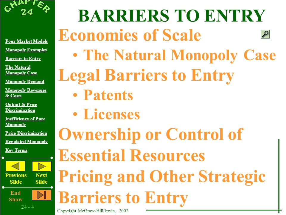 24 - 3 Copyright McGraw-Hill/Irwin, 2002 Four Market Models Monopoly Examples Barriers to Entry The Natural Monopoly Case Monopoly Demand Monopoly Revenues & Costs Output & Price Discrimination Inefficiency of Pure Monopoly Price Discrimination Regulated Monopoly Key Terms Previous Slide Next Slide End Show MONOPOLY EXAMPLES Pure Monopoly Regulated Monopoly Near Monopolies Dual Objectives of the Study Monopoly as a Market Structure To Better Understand Other Market Structures