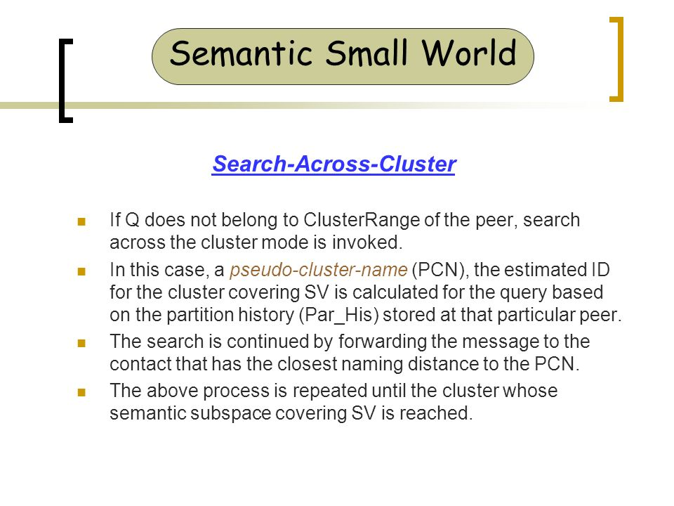 Search-Across-Cluster If Q does not belong to ClusterRange of the peer, search across the cluster mode is invoked.