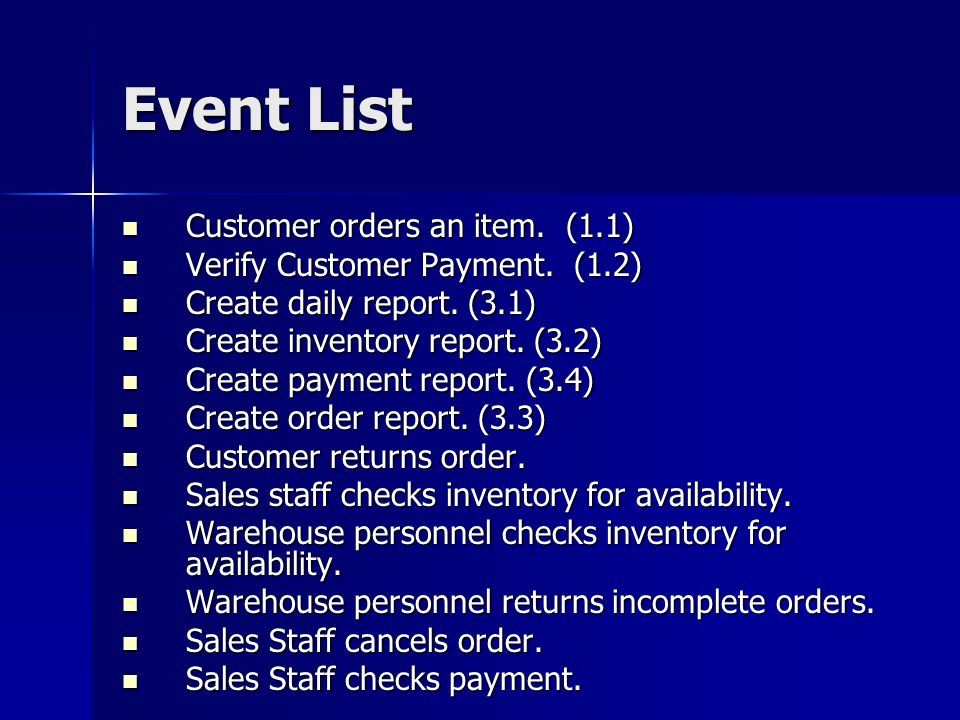 Event List Customer orders an item. (1.1) Customer orders an item.