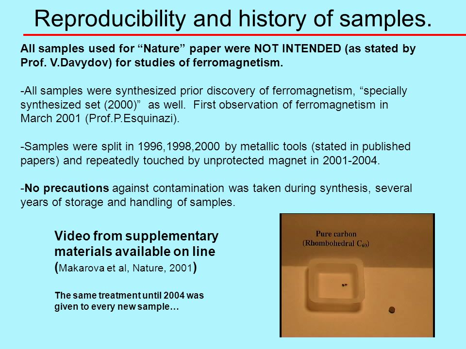 Reproducibility and history of samples. All samples used for Nature paper were NOT INTENDED (as stated by Prof. V.Davydov) for studies of ferromagneti