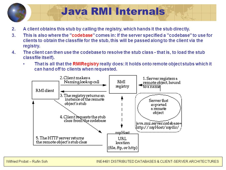 Java RMI Internals 2.A client obtains this stub by calling the registry, which hands it the stub directly. 3.This is also where the