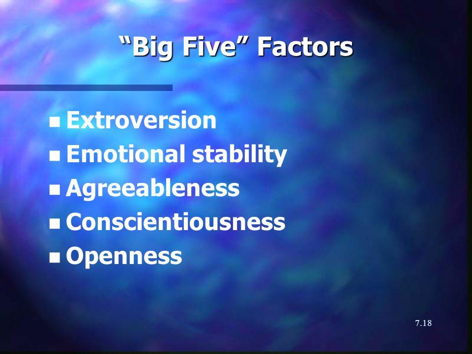 7.18 Big Five Factors n n Extroversion n n Emotional stability n n Agreeableness n n Conscientiousness n n Openness