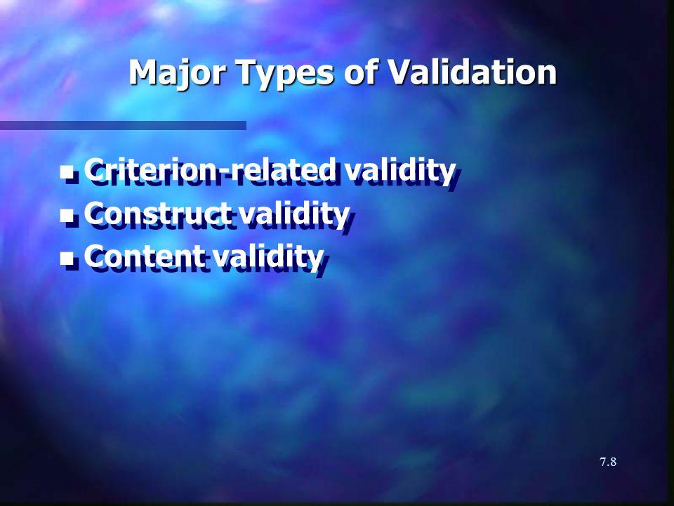 7.8 Major Types of Validation n n Criterion-related validity n n Construct validity n n Content validity n n Criterion-related validity n n Construct validity n n Content validity