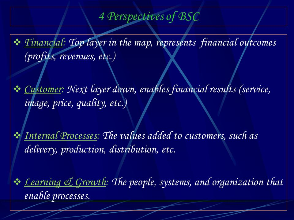 4 Perspectives of BSC Financial: Top layer in the map, represents financial outcomes (profits, revenues, etc.) Customer: Next layer down, enables fina
