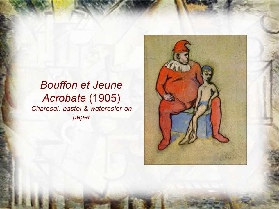 Bouffon et Jeune Acrobate (1905) Charcoal, pastel & watercolor on paper