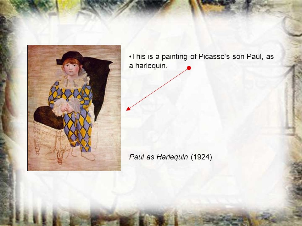 This is a painting of Picassos son Paul, as a harlequin. Paul as Harlequin (1924)