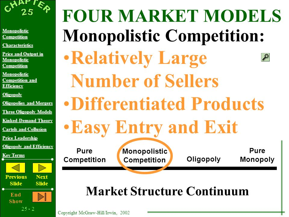25 - 12 Copyright McGraw-Hill/Irwin, 2002 Monopolistic Competition Characteristics Price and Output in Monopolistic Competition Monopolistic Competition and Efficiency Oligopoly Oligopolies and Mergers Three Oligopoly Models Kinked-Demand Theory Cartels and Collusion Price Leadership Oligopoly and Efficiency Key Terms Previous Slide Next Slide End Show Market Structure Continuum Pure Competition Pure Monopoly Monopolistic Competition Oligopoly FOUR MARKET MODELS Oligopoly: A Few Large Producers Homogeneous or Differentiated Products Control Over Price, But Mutual Interdependence Entry Barriers