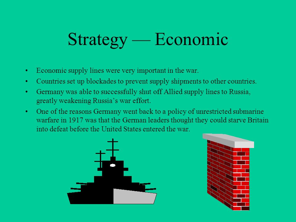 Strategy Economic Economic supply lines were very important in the war. Countries set up blockades to prevent supply shipments to other countries. Ger