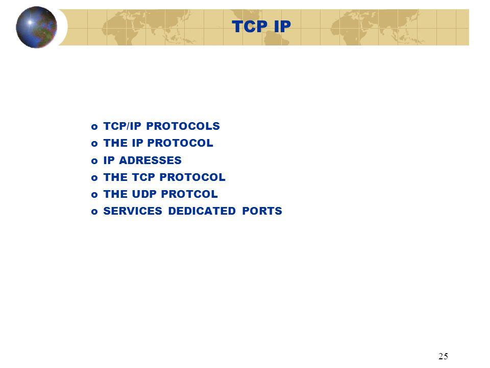 25 TCP IP oTCP/IP PROTOCOLS oTHE IP PROTOCOL oIP ADRESSES oTHE TCP PROTOCOL oTHE UDP PROTCOL oSERVICES DEDICATED PORTS