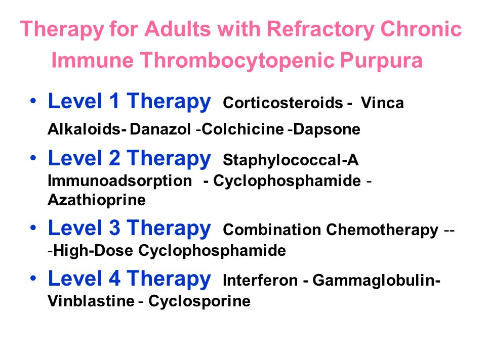 Therapy for Adults with Refractory Chronic Immune Thrombocytopenic Purpura Level 1 Therapy Corticosteroids - Vinca Alkaloids- Danazol -Colchicine -Dap
