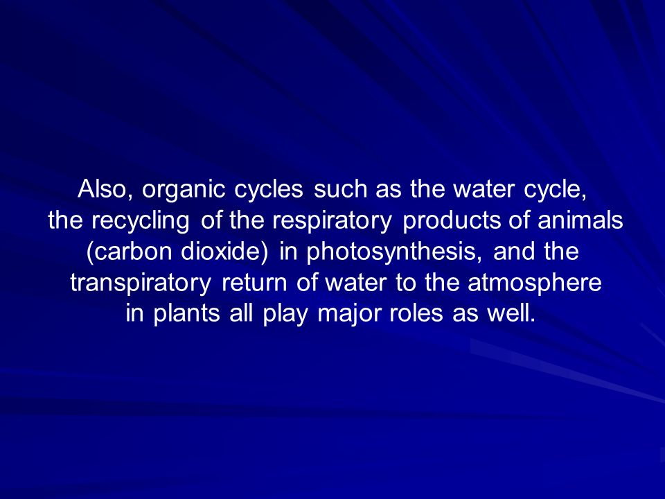 Also, organic cycles such as the water cycle, the recycling of the respiratory products of animals (carbon dioxide) in photosynthesis, and the transpi