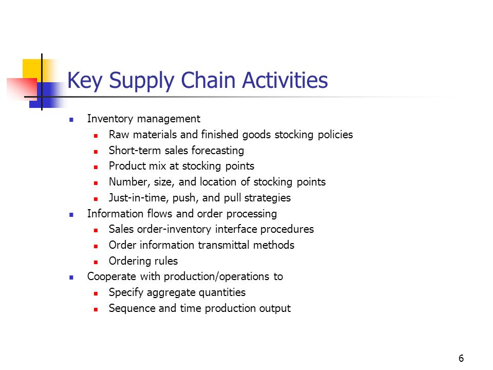 6 Key Supply Chain Activities Inventory management Raw materials and finished goods stocking policies Short-term sales forecasting Product mix at stoc